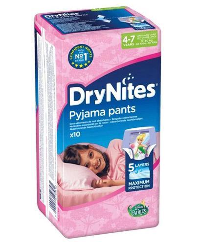 HUGGIES DRYNITES Pieluchomajtki dla dziewczynki 4-7 lat  17-30 kg - 10 szt.