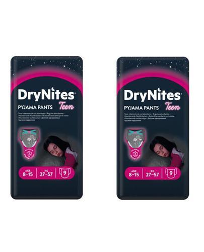HUGGIES DRYNITES Pieluchomajtki dla dziewczynki 8-15 lat 27-57 kg - 2 x 9 szt.