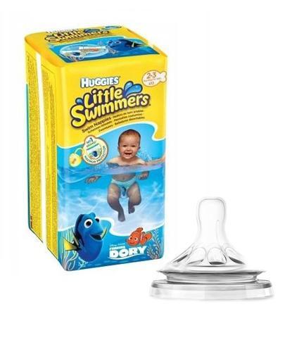 HUGGIES LITTLE SWIMMERS Pieluchomajtki dla chłopca Rozmiar 2-3, 3-8 kg - 12 szt. + AVENT NATURAL Smoczek o wolnym przepływie 0m+ SCF657/27 - 2 szt.