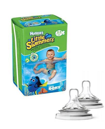 HUGGIES LITTLE SWIMMERS Pieluchomajtki dla chłopca Rozmiar 3-4, 7-15 kg - 12 szt. + AVENT NATURAL Smoczek do gęstych pokarmów 6 m+ - 2 szt.