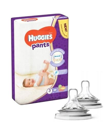 HUGGIES PANTS 3 Pieluchomajtki 6-11 kg - 44 szt + AVENT NATURAL Smoczek do gęstych pokarmów 6 m+ - 2 szt.