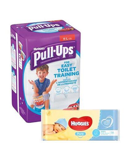 HUGGIES PULL-UPS Pieluchomajtki dla chłopca rozmiar L 16-23 kg - 12 szt. + HUGGIES PURE Chusteczki nawilżane - 56 szt. - Apteka internetowa Melissa
