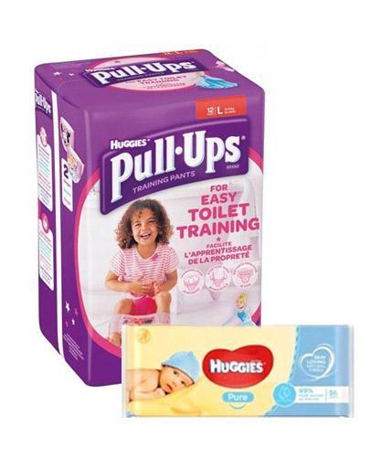 HUGGIES PULL-UPS Pieluchomajtki dla dziewczynki rozmiar L 16-23 kg - 12 szt. + HUGGIES PURE Chusteczki nawilżane - 56 szt.