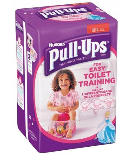 HUGGIES PULL-UPS Pieluchomajtki dla dziewczynki rozmiar L 16-23 kg - 12 szt.