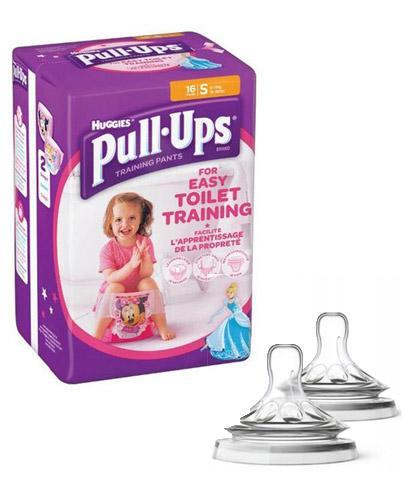 HUGGIES PULL-UPS Pieluchomajtki dla dziewczynki rozmiar S 8-15 kg - 16 szt. + AVENT NATURAL Smoczek do gęstych pokarmów 6 m+ - 2 szt.