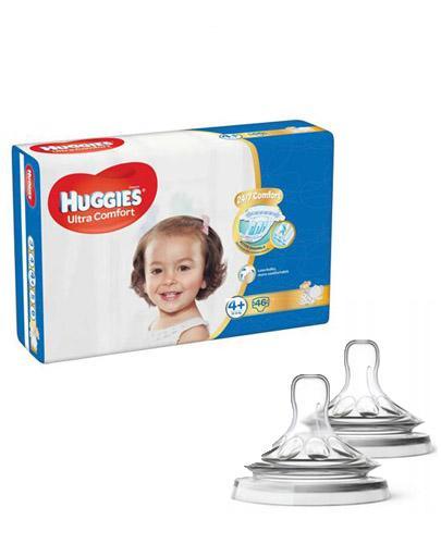 HUGGIES ULTRA COMFORT 4+ Pieluchy 10-16 kg - 46 szt. + AVENT NATURAL Smoczek do gęstych pokarmów 6 m+ - 2 szt.
