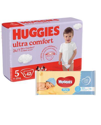 HUGGIES ULTRA COMFORT 5 Pieluchy 12-22 kg - 42 szt. + HUGGIES PURE Chusteczki nawilżane - 56 szt. - Apteka internetowa Melissa