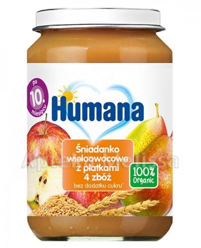 HUMANA 100% ORGANIC Śniadanko wieloowocowe z płatkami 4 zbóż - 190 g - Apteka internetowa Melissa