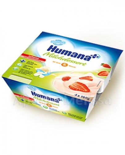 HUMANA Deserek mleczny truskawkowy - 4 x 100 g - Apteka internetowa Melissa