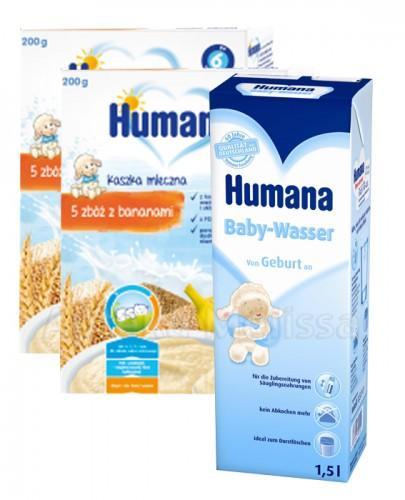 HUMANA Kaszka mleczna 5 zbóż z bananami - 2 x 200 g + HUMANA Woda dla niemowląt - 1,5 l GRATIS !  - Apteka internetowa Melissa