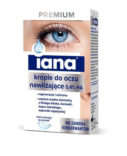 IANA PREMIUM Nawilżające krople do oczu 0,4% HA - 10 ml Na suche oko - cena, opinie, stosowanie  - Drogeria Melissa