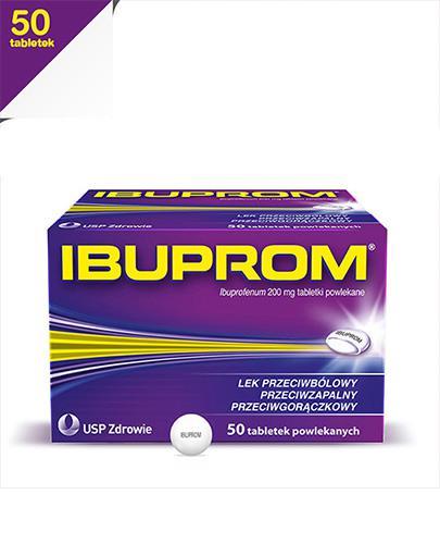IBUPROM - 50 tabl. - bóle o umiarkowanym nasileniu - cena, opinie, właściwości - Apteka internetowa Melissa