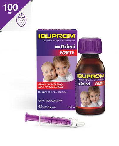 IBUPROM DLA DZIECI FORTE 200 mg/5 ml Zawiesina o smaku truskawkowym - 100 ml - Apteka internetowa Melissa