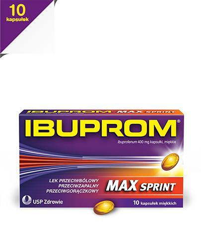 IBUPROM MAX SPRINT - 10 kaps. - lek przeciwbólowy i przeciwzapalny - cena, opinie, wskazania