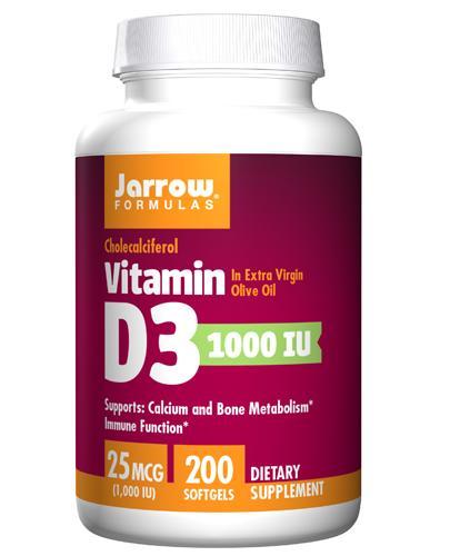 JARROW FORMULAS Vitamin D3 1000 IU - 200 kaps. - Apteka internetowa Melissa