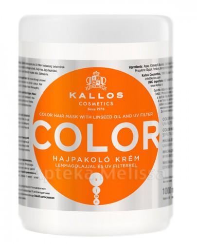 KALLOS COLOR Maska do włosów farbowanych z olejem lnianym i filtrem UV - 1000 ml  - Apteka internetowa Melissa