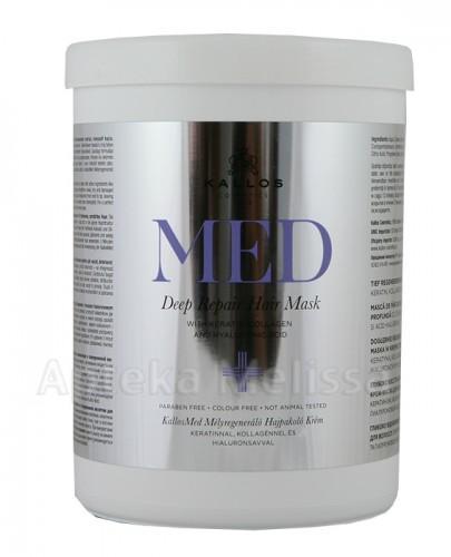 KALLOS MED DEEP REPAIR Dogłębnie regenerująca maska w kremie z keratyną, kolagenem i kwasem hialuronowym do suchych, zniszczonych włosów - 1000 ml - Apteka internetowa Melissa
