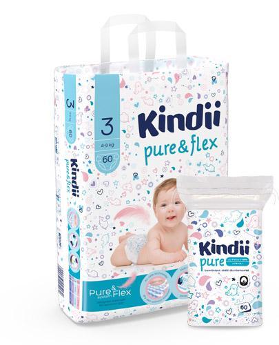 KINDII PURE&FLEX Pieluchy midi, rozm. 3 (4-9 kg) - 60 szt. + CLEANIC KINDII BABY SENSITIVE Płatki bawełniane dla niemowląt - 60 szt.
