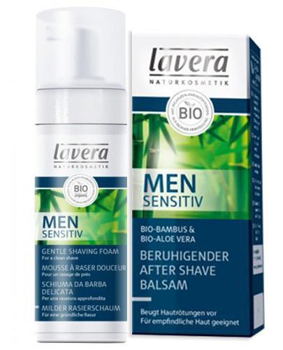 Lavera Naturkosmetik Men Sensitiv Zestaw Łagodna pianka do golenia - 150 ml + Balsam łagodzący po goleniu - 50 ml - cena, opinie, stosowanie - Drogeria Melissa