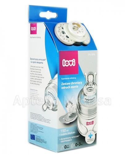 LOVI DYNAMIC+ Butelka - 150 ml + LOVI Dynamiczny smoczek uspokajający 0-3 m-cy - 1 szt.