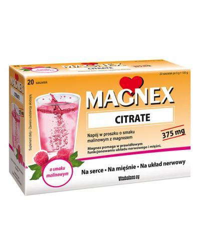 MAGNEX CITRATE Napój w proszku o smaku malinowym z magnezem - 20 sasz. Data ważności: 2019.06.30 - Apteka internetowa Melissa