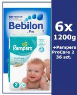 BEBILON 2 Z PRONUTRA+ Mleko modyfikowane w proszku - 6x1200 g + PAMPERS PROCARE 2 Pieluchy 3 - 6 kg. - 36 szt.