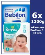 BEBILON 2 Z PRONUTRA+ Mleko modyfikowane w proszku - 6x1200 g + PAMPERS PROCARE 3 Pieluchy 5 - 9 kg. - 32 szt.