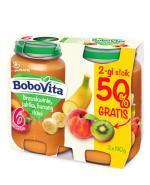 BOBOVITA Brzoskwinie, jabłka, banany i kiwi po 6 m-cu - 2 x 190 g - Apteka internetowa Melissa