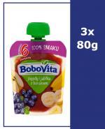 BOBOVITA MUS Jagody i jabłka z bananem po 6 m-cu - 3 x 80 g