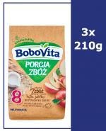 BOBOVITA PORCJA 7 ZBÓŻ Wielozbożowo-owsiana pełnoziarnista kaszka mleczna jabłkowa po 8 m-cu - 3 x 210 g - Apteka internetowa Melissa