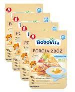 BOBOVITA PORCJA ZBÓŻ Kaszka mleczna 7 zbóż wieloowocowa po 8 miesiącu - 3 x 210 g + 210 g GRATIS !  - Apteka internetowa Melissa