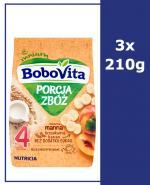 BOBOVITA PORCJA ZBÓŻ Manna kaszka mleczna bananowo-brzoskwiniowa po 4 m-cu - 3 x 210 g - Apteka internetowa Melissa