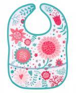 CANPOL BABIES Śliniak plastikowy z kieszonką kwiatki 9/234 - 1 szt.
