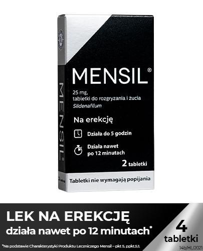 Mensil 25mg - 4 tabl. - lek na zaburzenia wzwodu - cena, opinie, wskazania - Apteka internetowa Melissa
