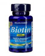 HOLLAND&BARRETT Biotyna 1000 ug - 100 tabl. Dla zdrowych włosów, skóry i błon śluzowych.