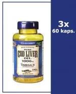 HOLLAND&BARRETT Olej z wątroby dorsza 1000 mg - 3 x 60 kaps. Kwasy Omega-3 i witaminy A i D.