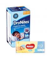 HUGGIES DRYNITES Pieluchomajtki dla chłopca 3-5 lat 16-23 kg - 10 szt. + HUGGIES PURE Chusteczki nawilżane - 56 szt.