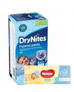 HUGGIES DRYNITES Pieluchomajtki dla chłopca 4-7 lat  17-30 kg - 10 szt. + HUGGIES PURE Chusteczki nawilżane - 56 szt.