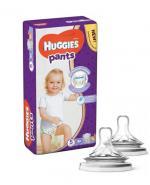 HUGGIES PANTS 5 Pieluchomajtki 12-17 kg - 34 szt + AVENT NATURAL Smoczek do gęstych pokarmów 6 m+ - 2 szt.