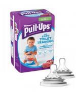 HUGGIES PULL-UPS Pieluchomajtki dla chłopca rozmiar M 10-18 kg - 14 szt. + AVENT NATURAL Smoczek do gęstych pokarmów 6 m+ - 2 szt.