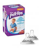 HUGGIES PULL-UPS Pieluchomajtki dla chłopca rozmiar S 8-15 kg - 16 szt. + AVENT NATURAL Smoczek do gęstych pokarmów 6 m+ - 2 szt.