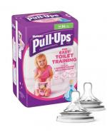 HUGGIES PULL-UPS Pieluchomajtki dla dziewczynki rozmiar M 10-18 kg - 14 szt. + AVENT NATURAL Smoczek do gęstych pokarmów 6 m+ - 2 szt.