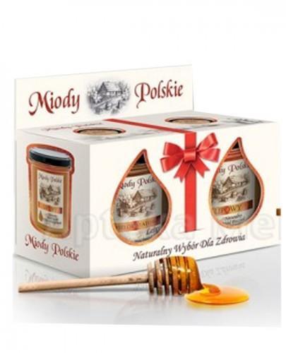 MIODY POLSKIE DWUPAK Miód wielokwiatowy leśny - 400 g + Miód lipowy - 400 g + Miód rzepakowy - 130 g + Pałeczka do miodu GRATIS!!!