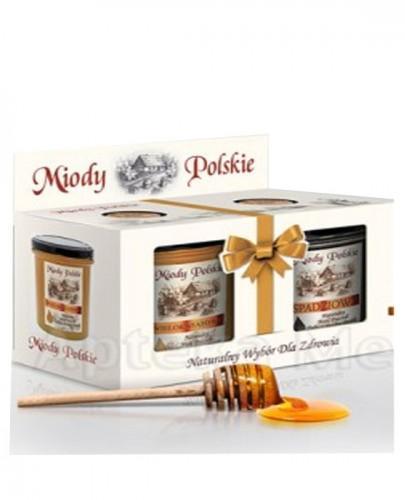 MIODY POLSKIE DWUPAK Miód wielokwiatowy - 400 g + Miód nektarowo-spadziowy - 400 g + Miód rzepakowy - 130 g + Pałeczka do miodu GRATIS!!!