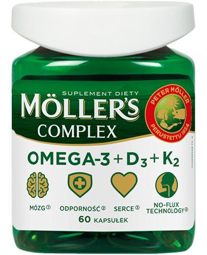 Moller's Complex Omega-3 + D3 + K2 - 60 kaps. - cena, opinie, właściwości - Apteka internetowa Melissa