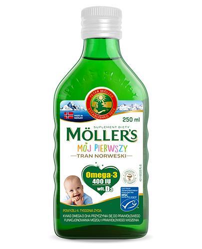 MOLLERS MÓJ PIERWSZY Tran norweski o aromacie naturalnym - 250 ml - cena, opinie, właściwości - Drogeria Melissa