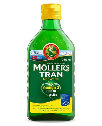 MOLLERS Tran norweski o aromacie cytrynowym - 250 ml - cena, opinie, właściwości - Drogeria Melissa