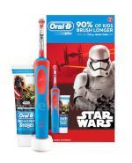 ORAL-B Szczoteczka elektryczna dla dzieci + pasta do zębów z fluorem STAR WARS - 1 zestaw Data ważności: 2018.05.30 - Apteka internetowa Melissa