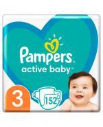 PAMPERS ACTIVE BABY 3 MIDI Pieluchy 6-10 kg - 152 szt. - cena, opinie, właściwości