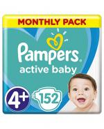 PAMPERS ACTIVE BABY DRY 4+ MAXI PLUS Pieluchy 9-15 kg - 152 szt.